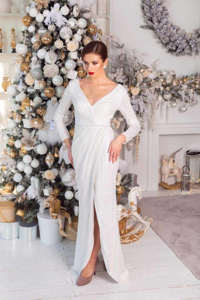 White Mermaid Christmas Dress