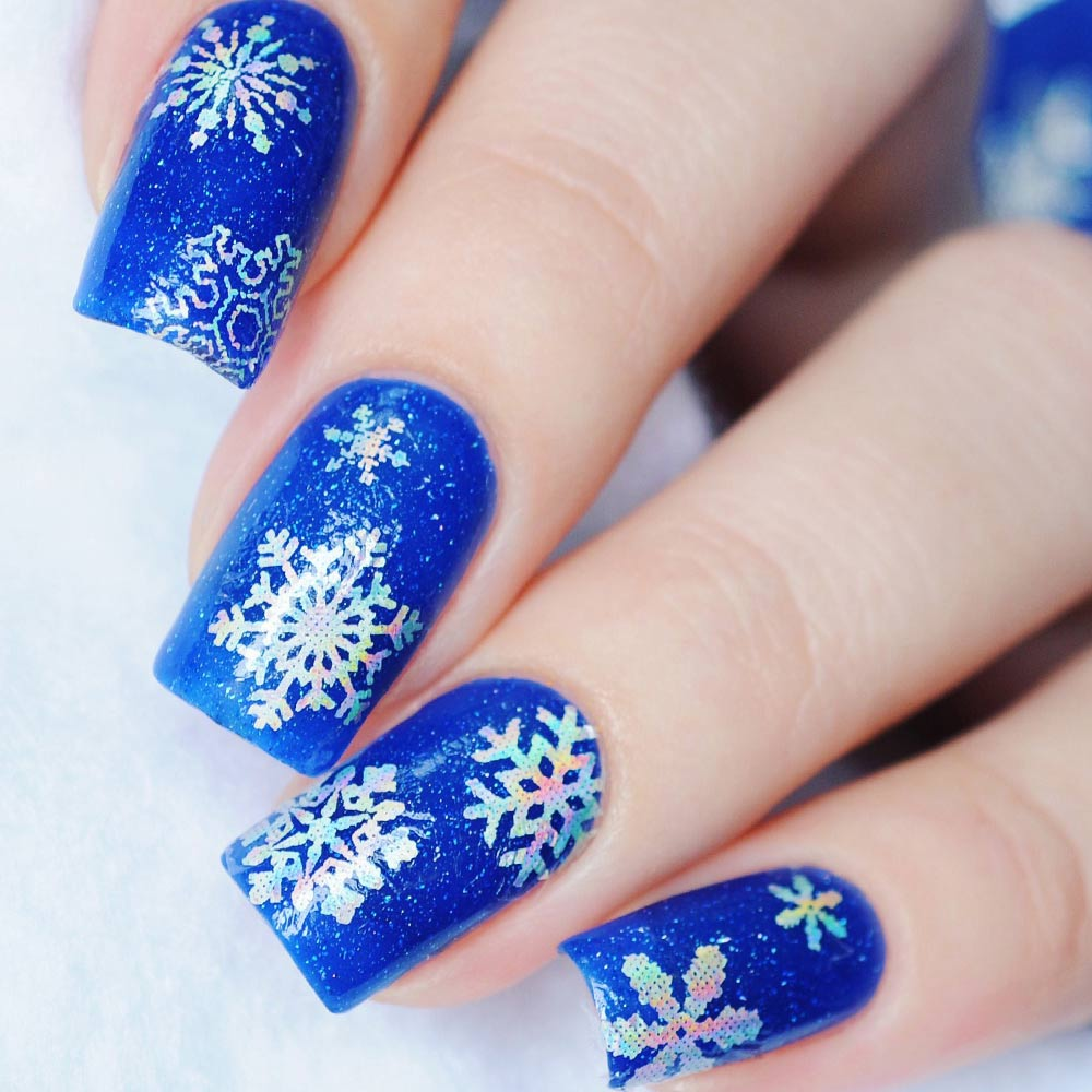 Blue Glitter Nails with Snowflakes