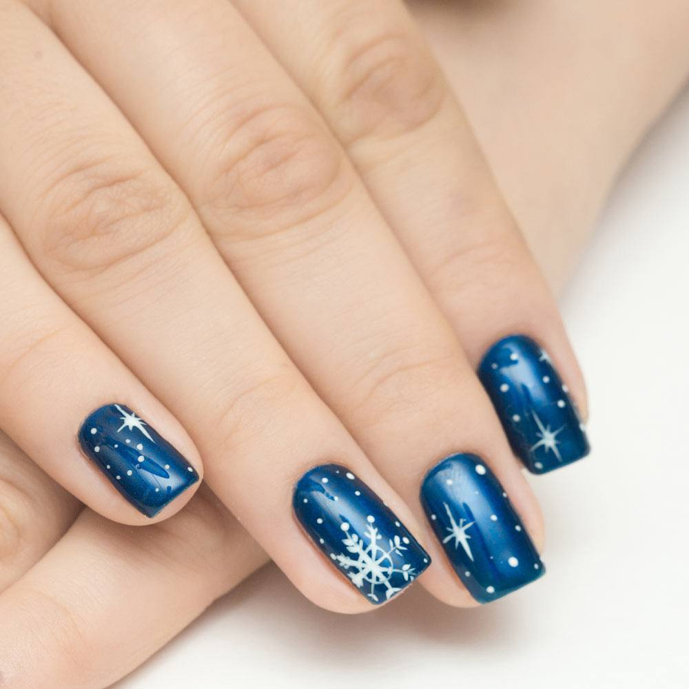 Navy Blue Nails with Snowflakes