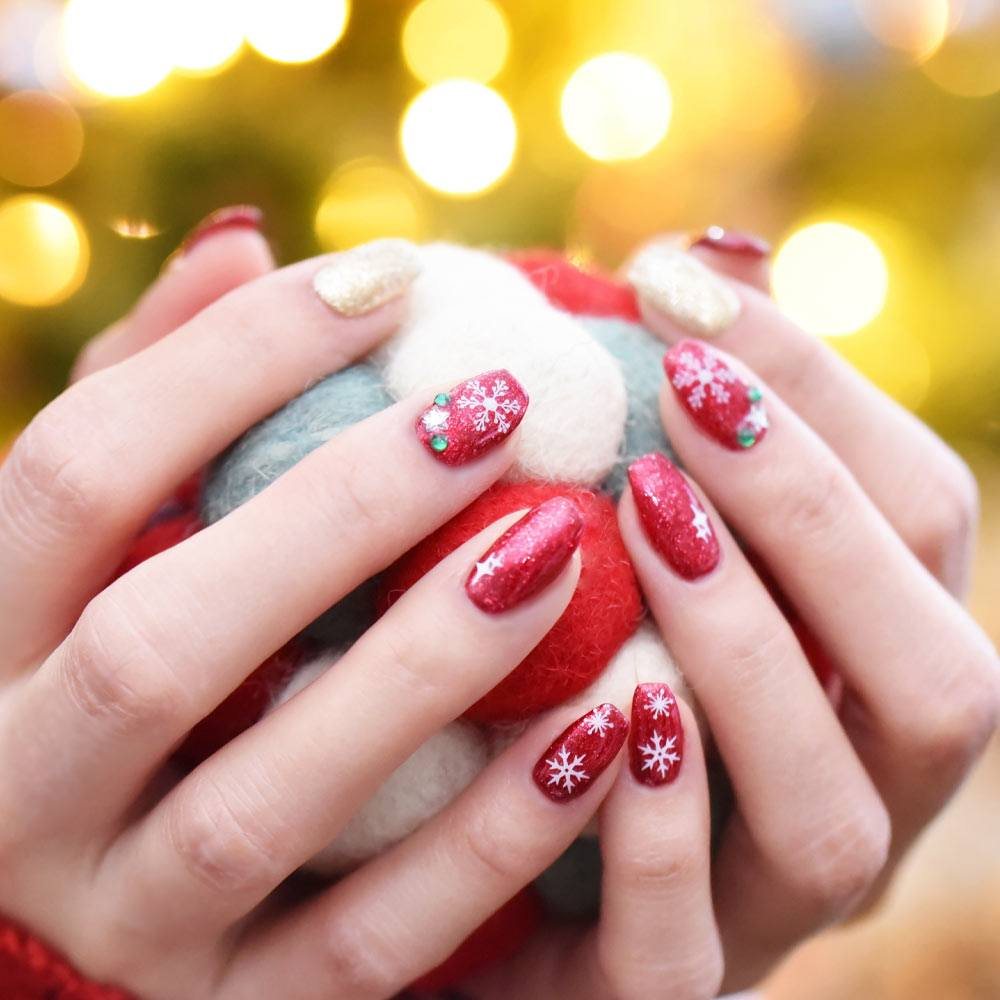 Red Sparkly Christmas Nails with Snowflakes