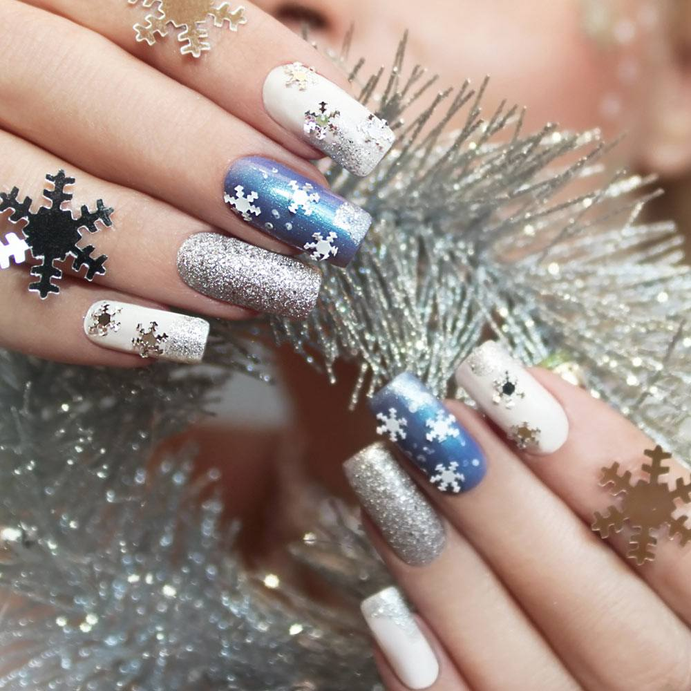 Frozen Nails with Snowflakes