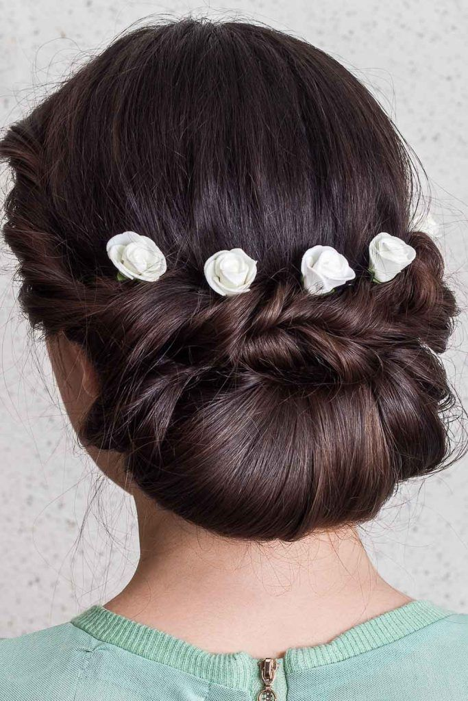 Twisted Low Bun Christmas Updo