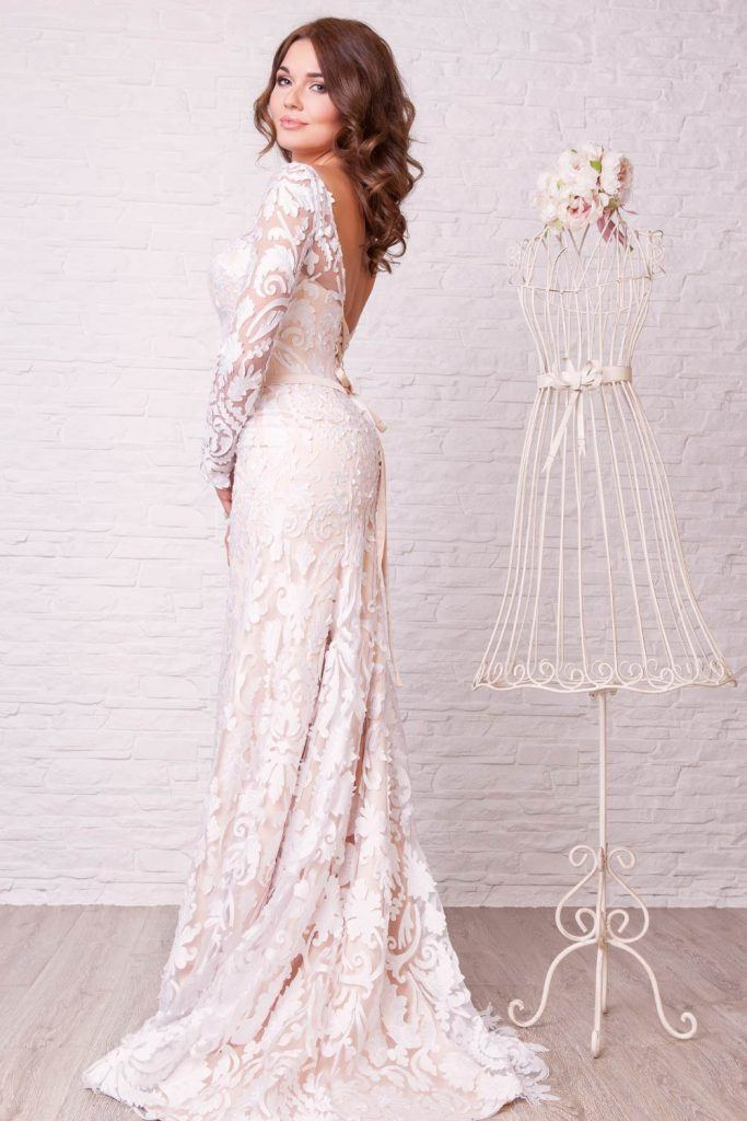 Backless Wedding Dress With Long Sleeves