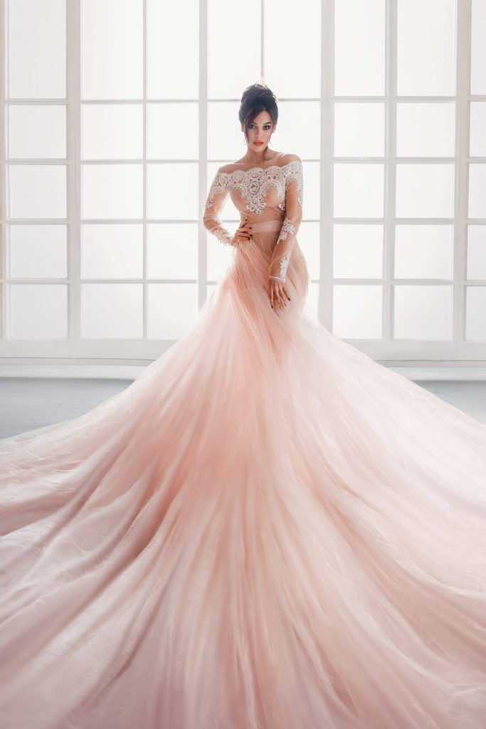 No Shoulders Long Sleeved Pink Wedding Dress