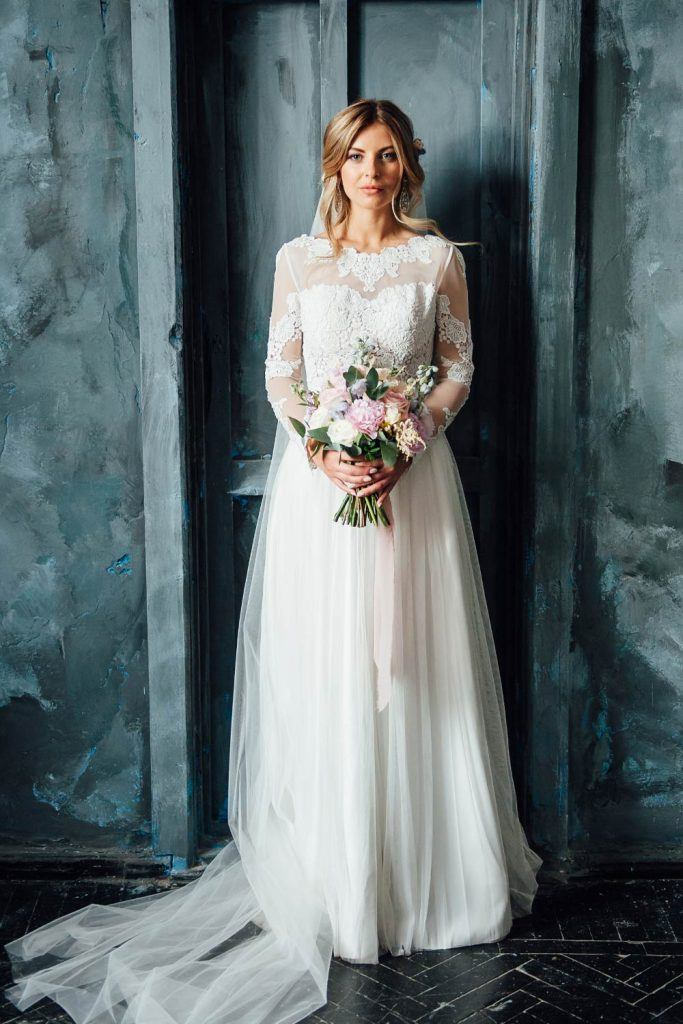 Wedding Dress with Patterned Long Sleeves