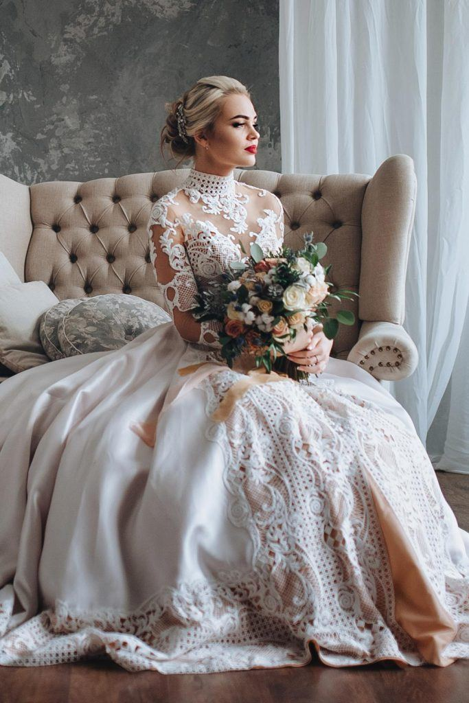 Beautiful Long Sleeved Wedding Dress with Turtleneck
