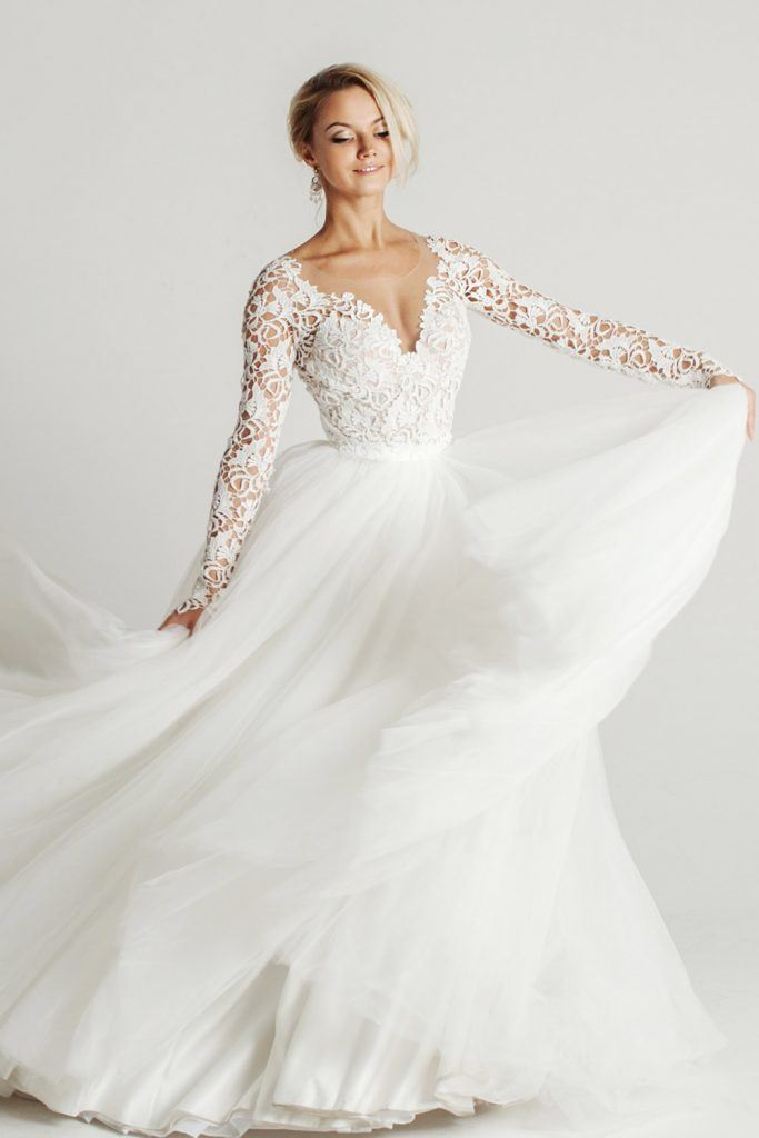 Illusion Long Sleeved Wedding Dress