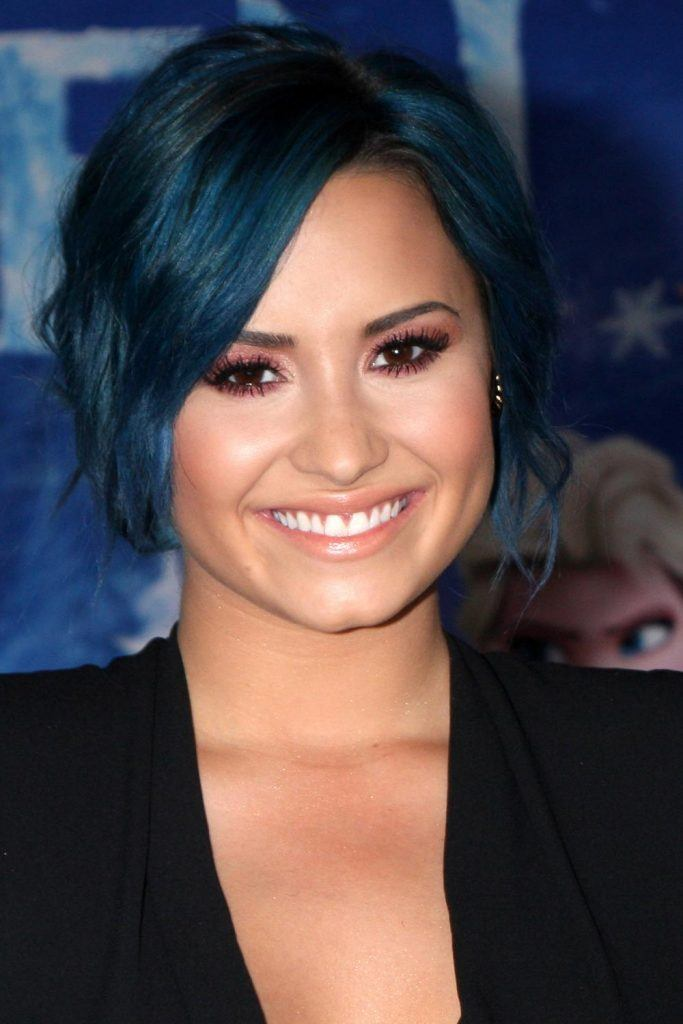Demi Lovato WIth Navy Blue Hair
