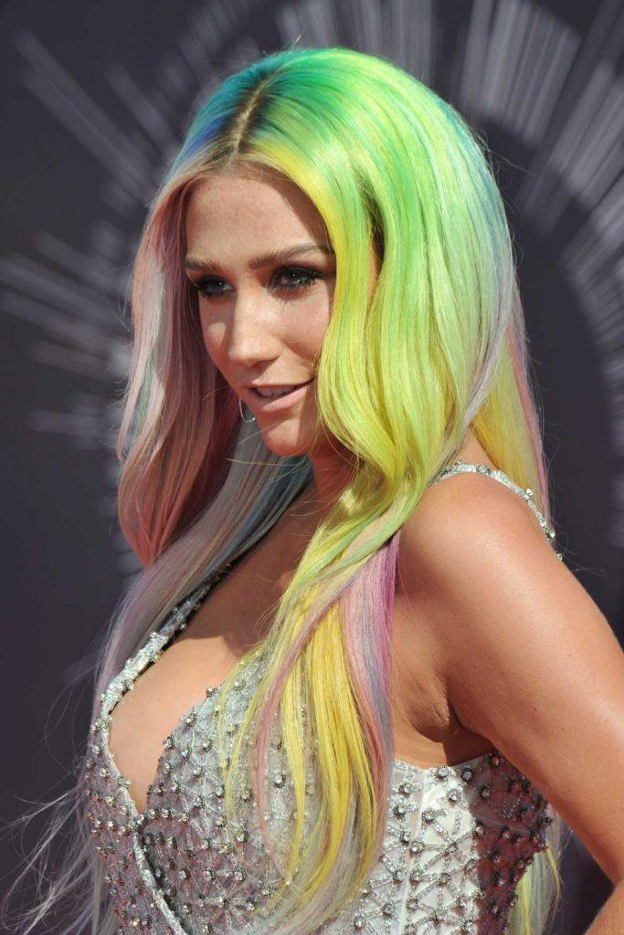 Kesha with Bright Mermaid Hair Color