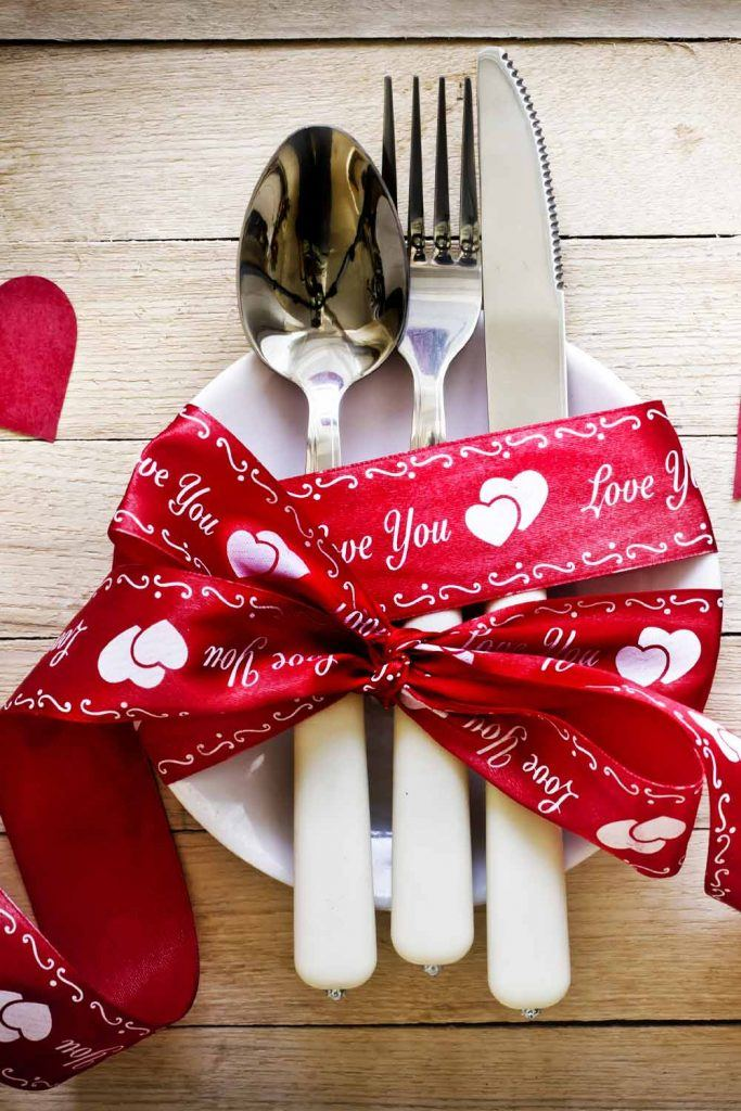 Napkin Ring with Valentines Day Theme Ribbon
