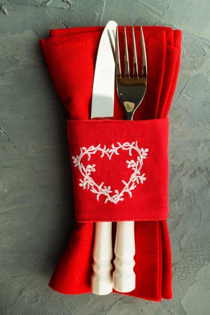 Romantic Napkin Decor for Valentines Day
