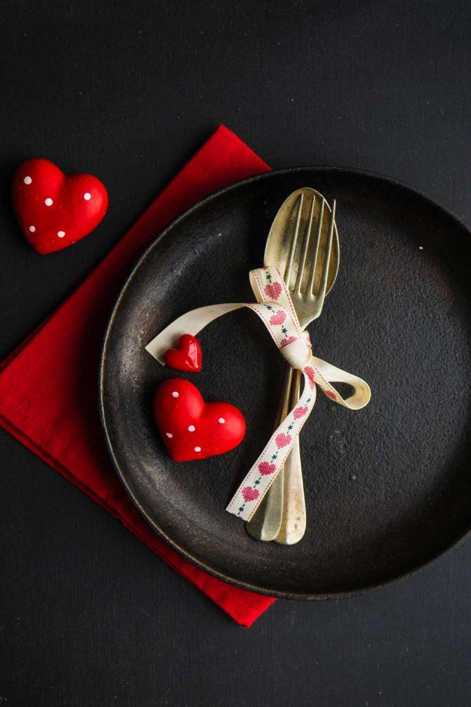 Napkin Ring with White Ribbon and Hearts