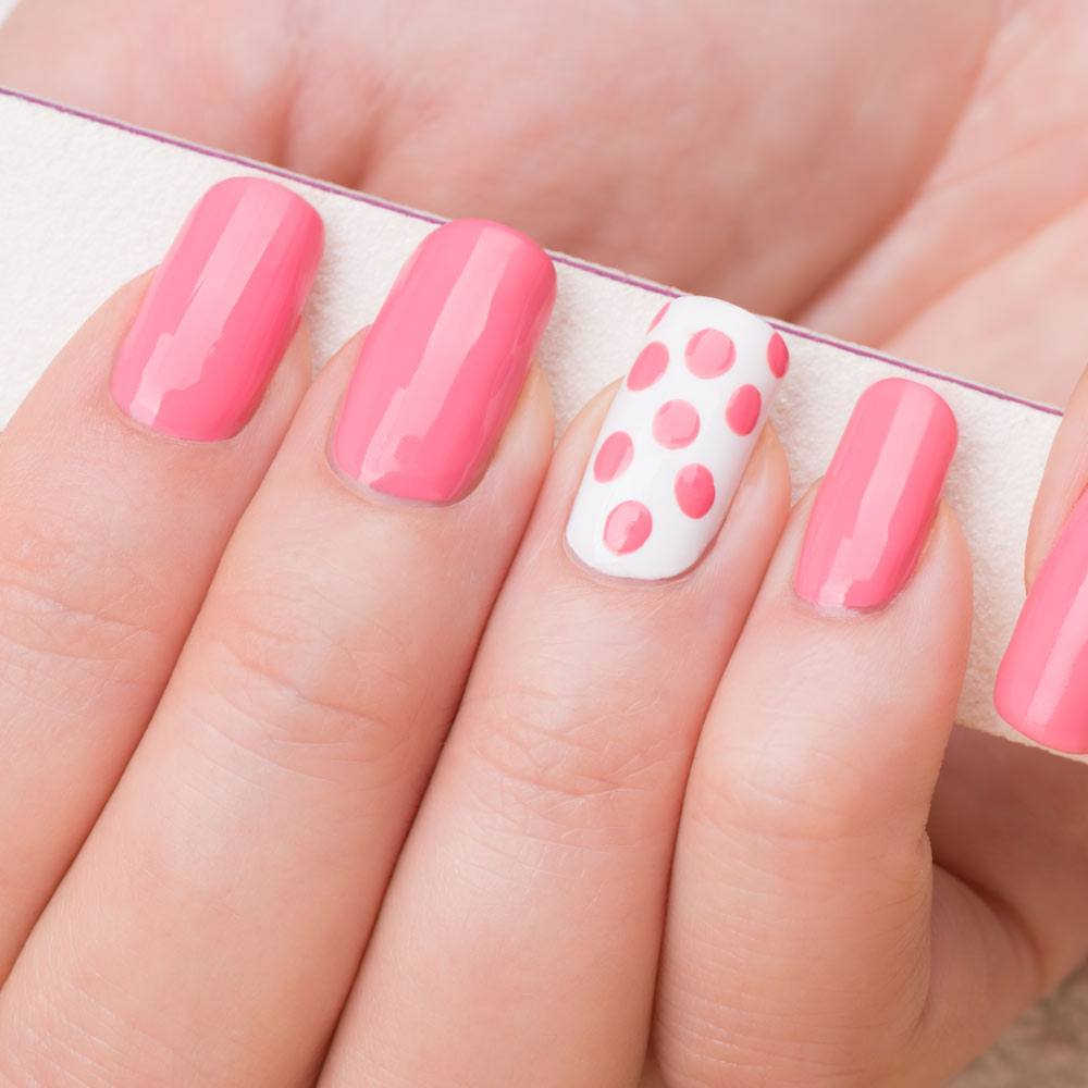 Simple Pink and White Nails