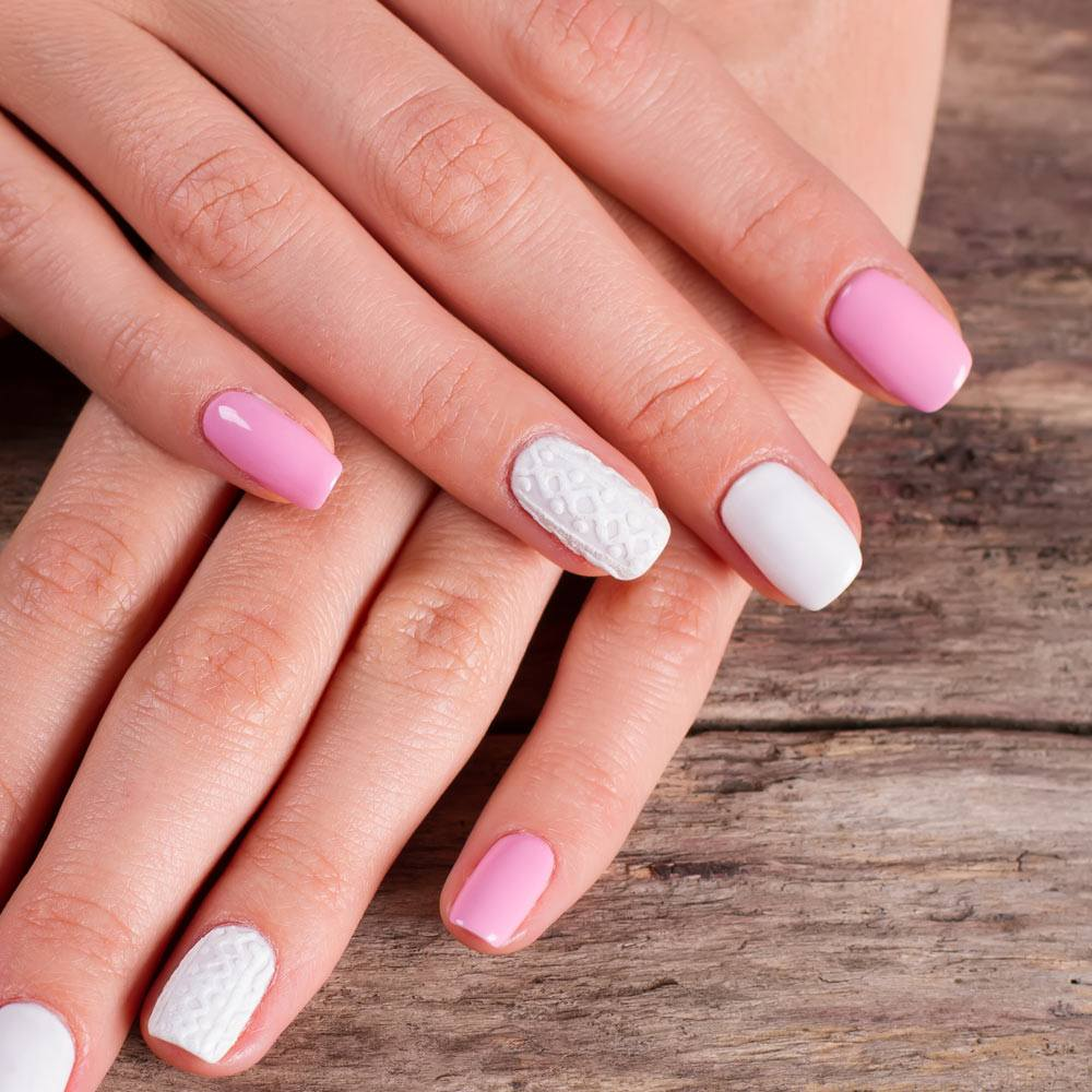 Patterned Pink And White Nails
