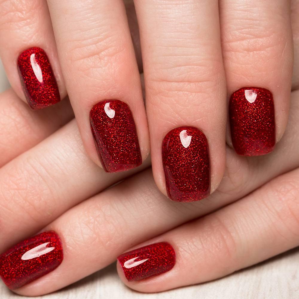Easy Glitter Red Nails Design