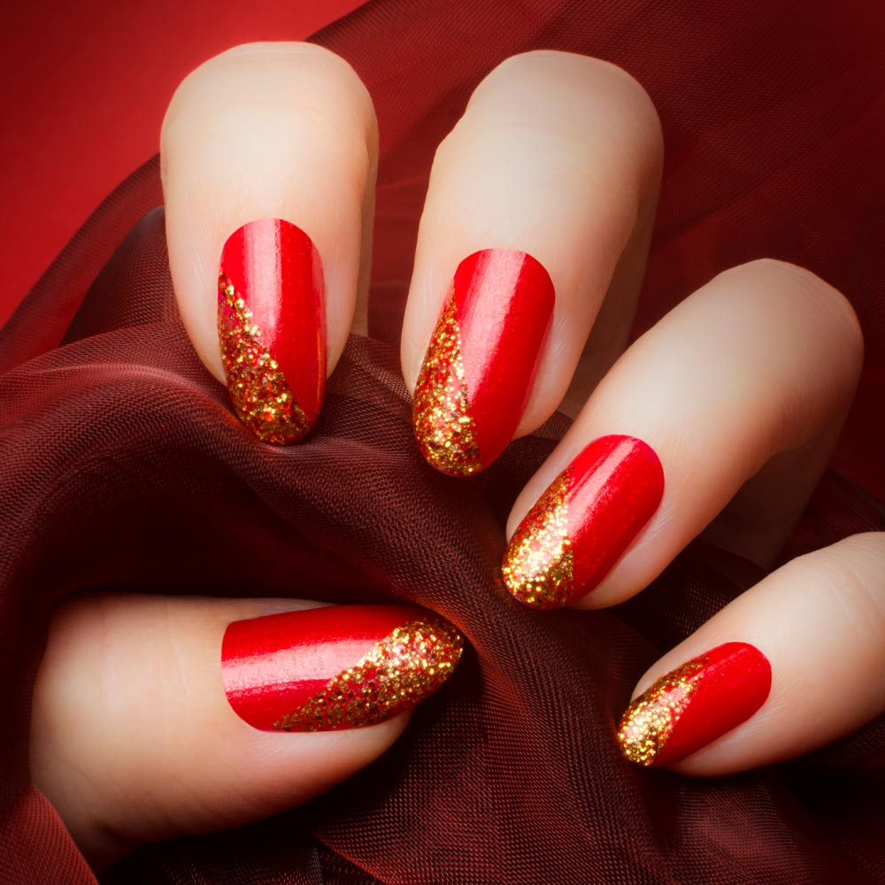 Red Nails with Gold Glitter