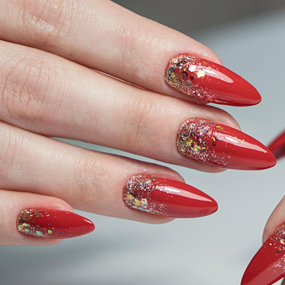 Glitter Ombre Red Nails