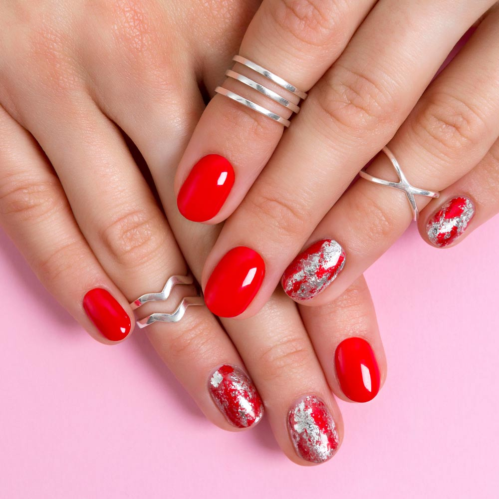 Red Nails with Silver Foil