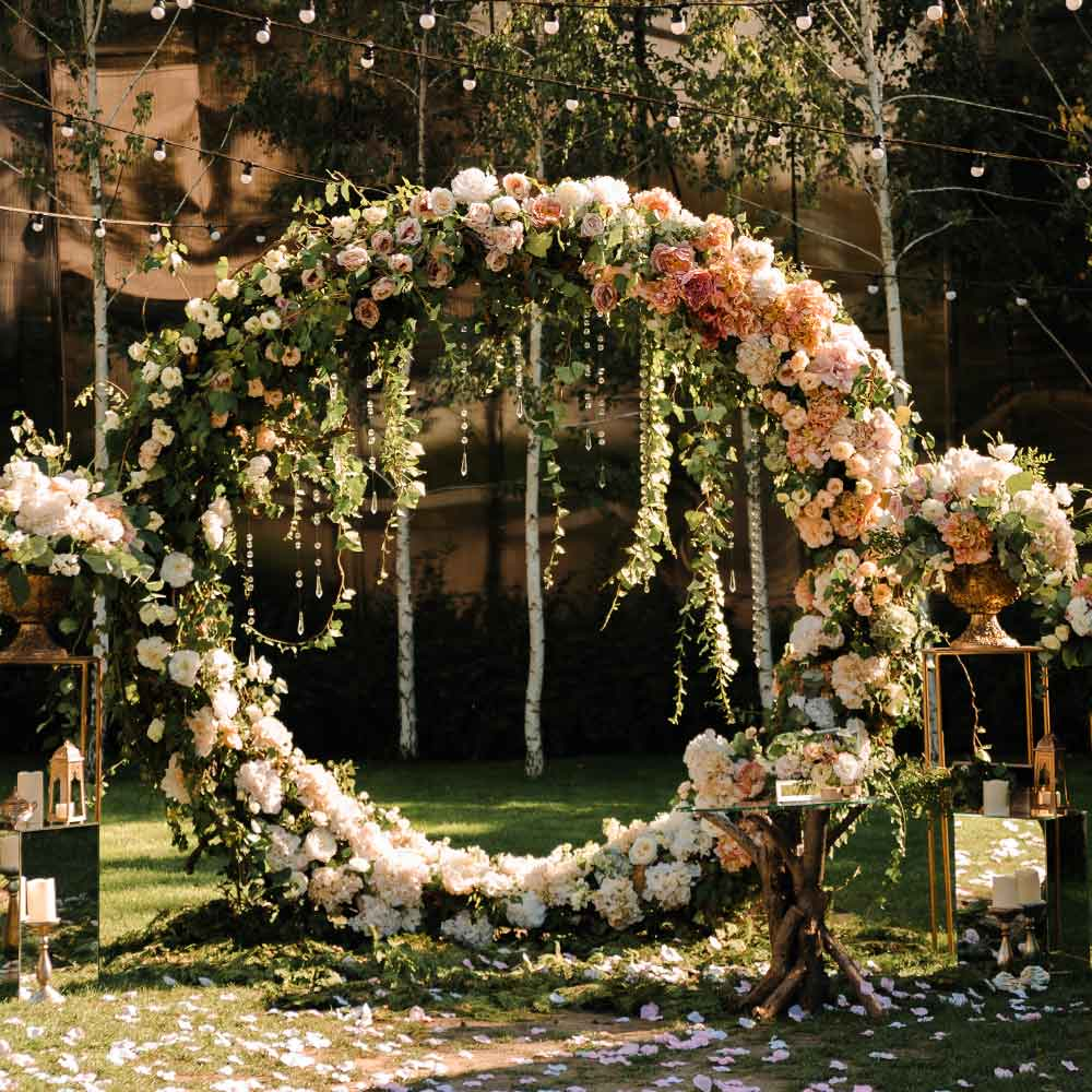 Round Wedding Arch with Floral Decoration