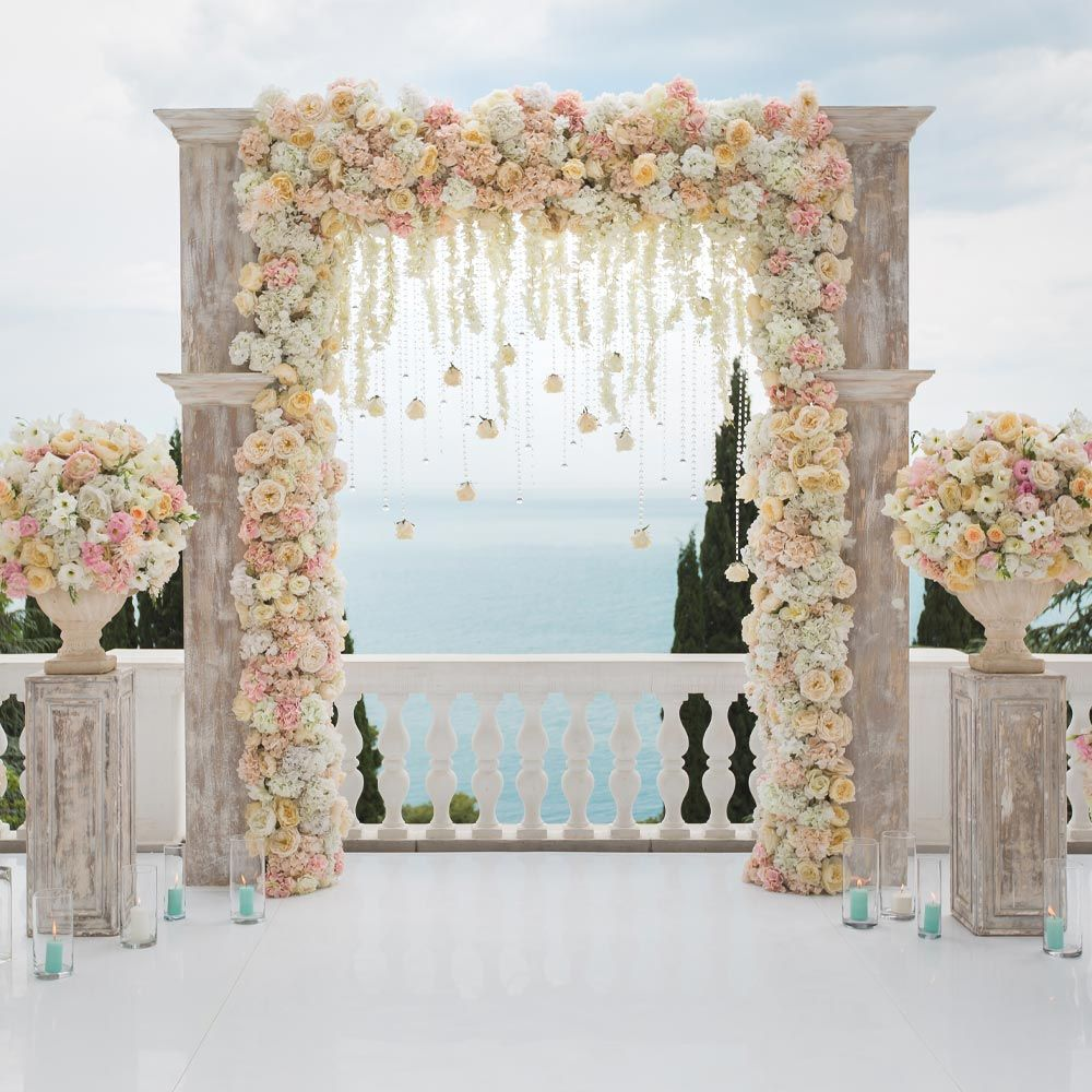 Vintage Wedding Arch with Floral Accent