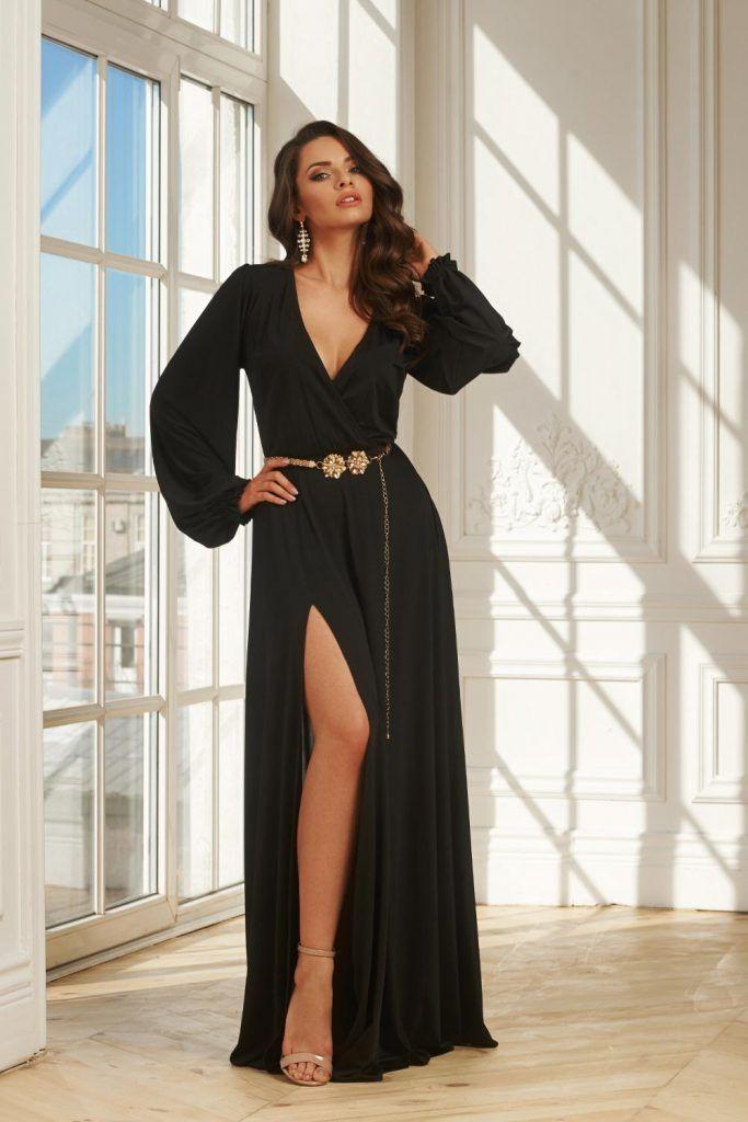 Long Black Dress with Bishop Sleeves