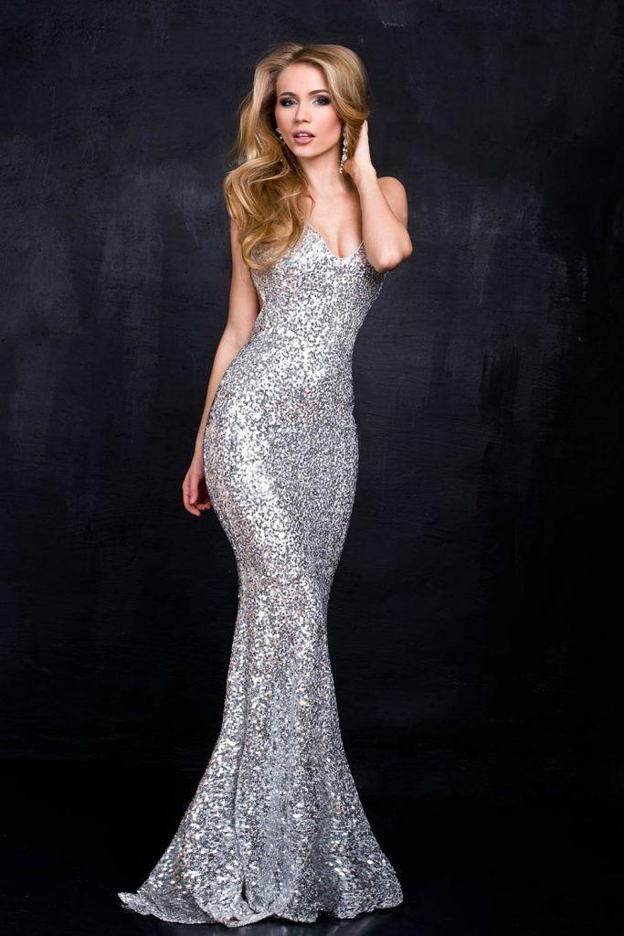Silver Mermaid Wedding Guest Dress