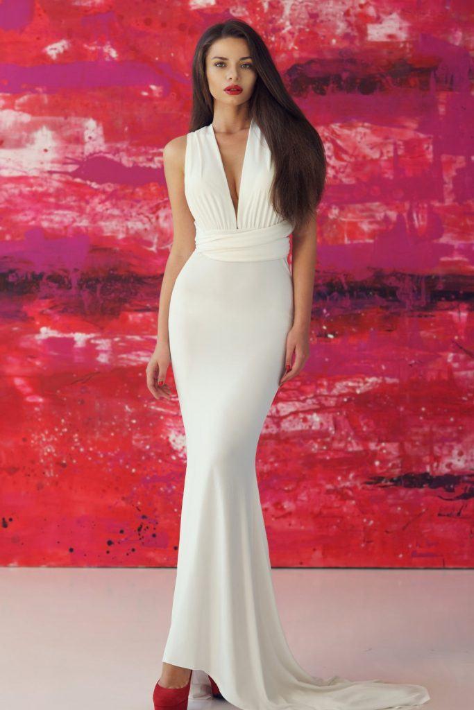 Long Mermaid White Dress