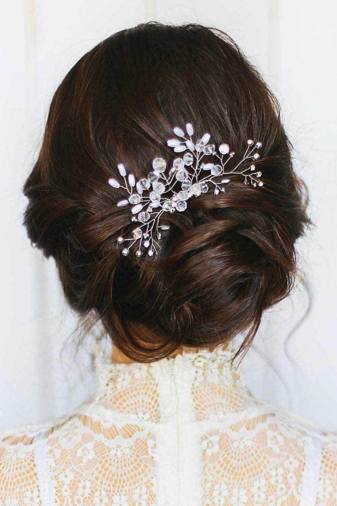 Elegant Wedding Updo with Accessory
