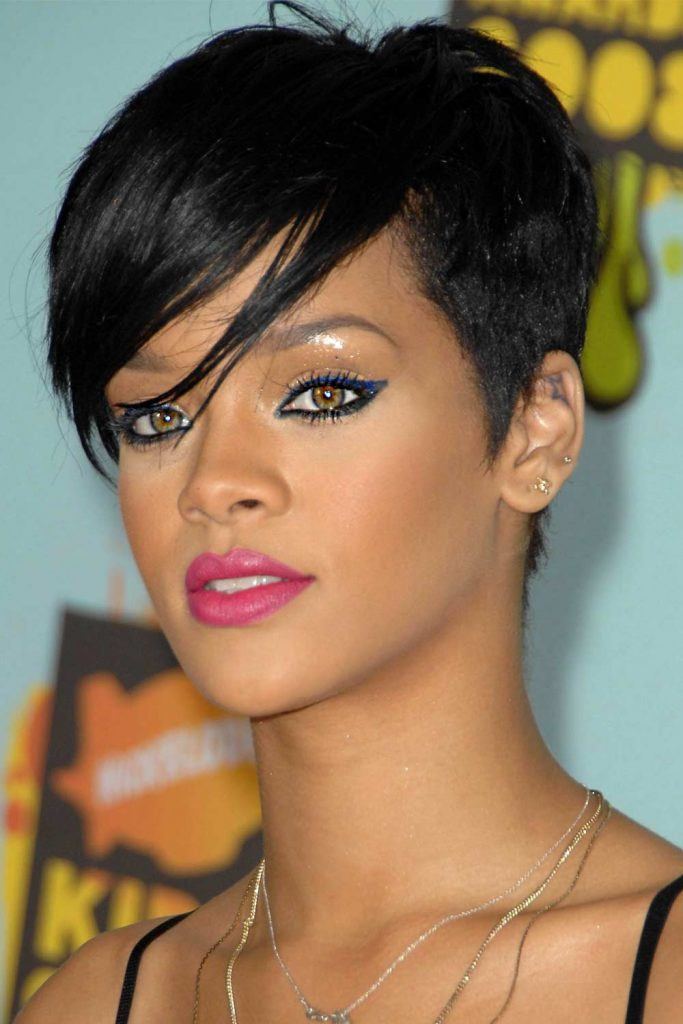 Rihanna with Dark Choppy Undercut Pixie
