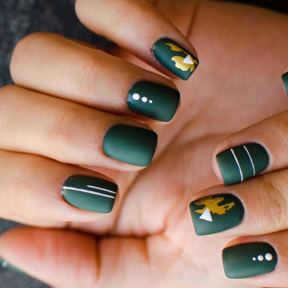 Green Acrylic Nails Design