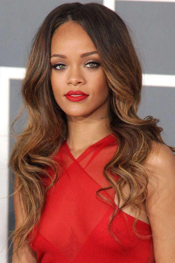 Rihanna with Voluminous Balayage Waves