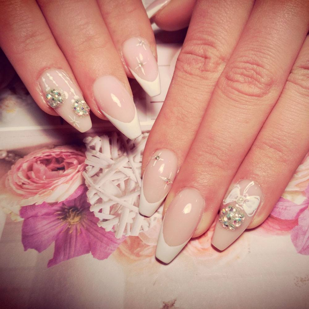 Glam Coffin Nails with Rhinestones