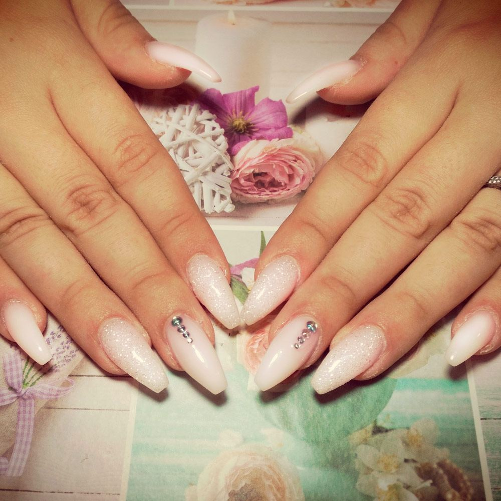 White Coffin Nails With A Glitter Accent