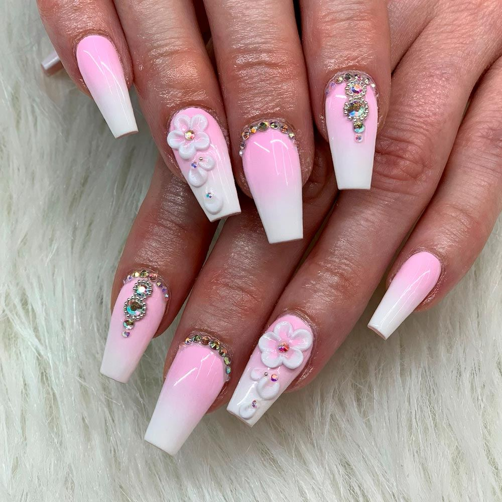 White And Pink Glitter Nails Design