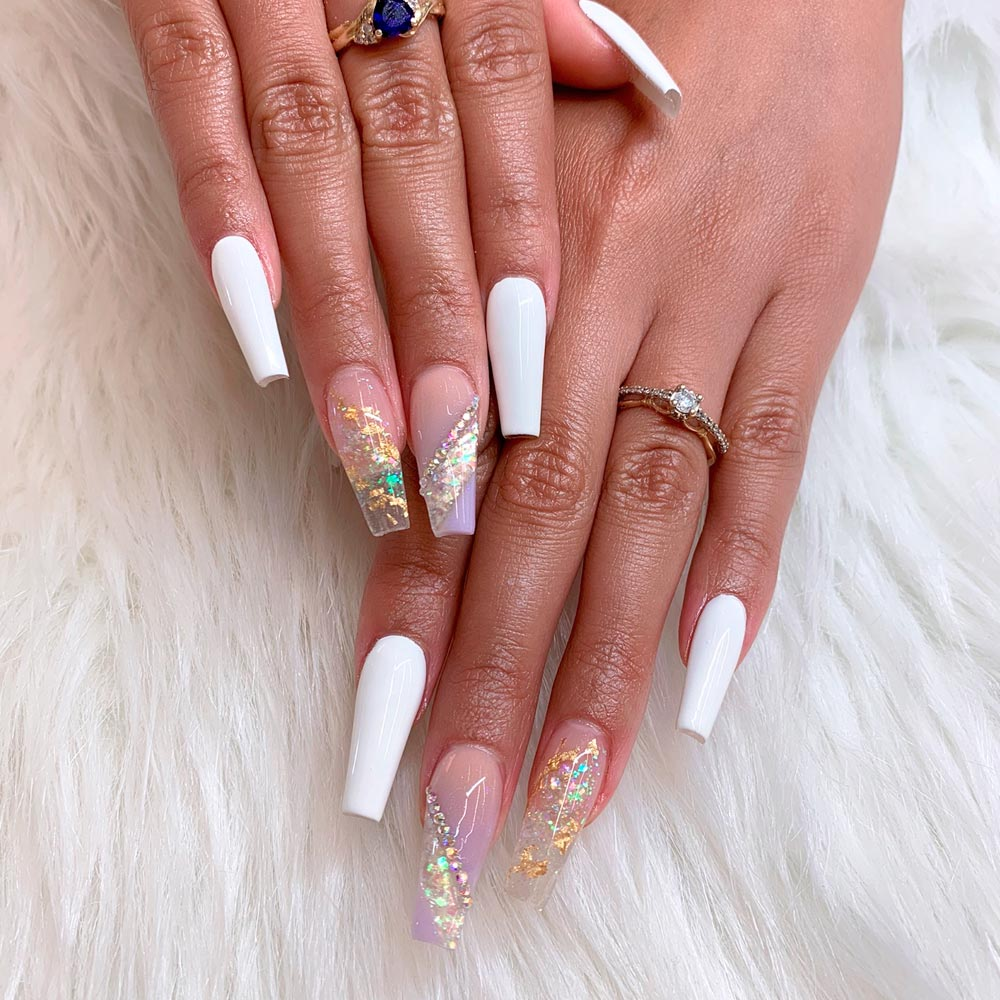 White And Gold Crystals Nails Design