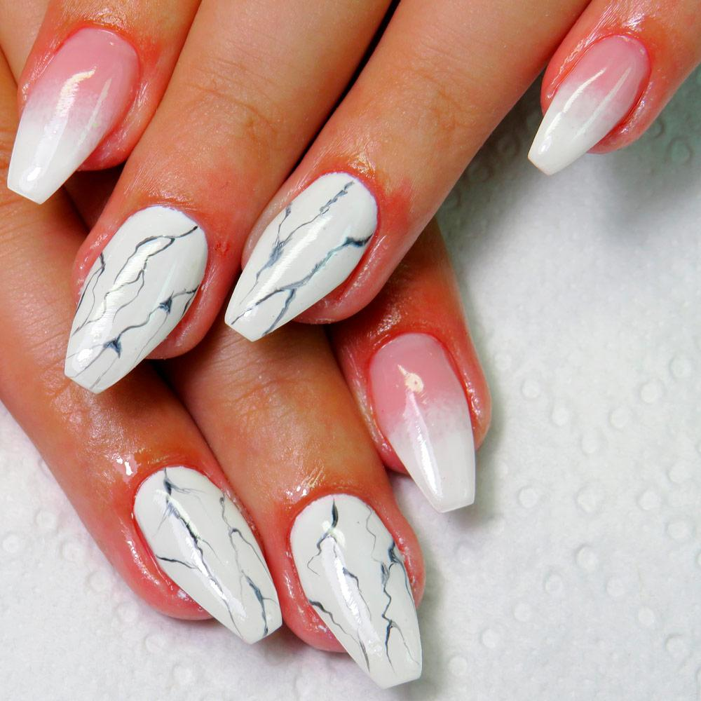 White Coffin Nails With Colorful Marble Art