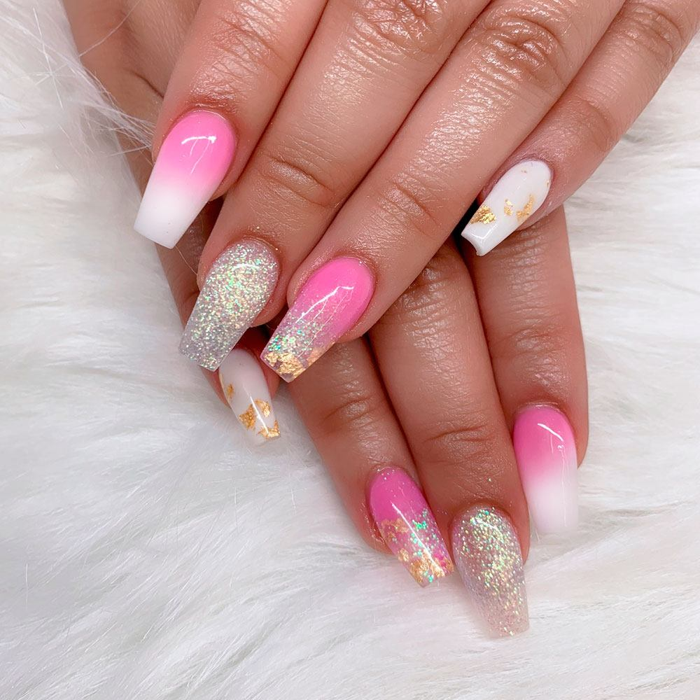 Sparkly White And Pink Nail Art Design