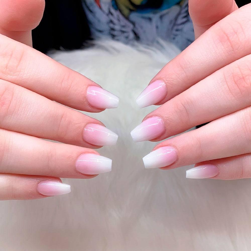 Pure White Coffin Nails