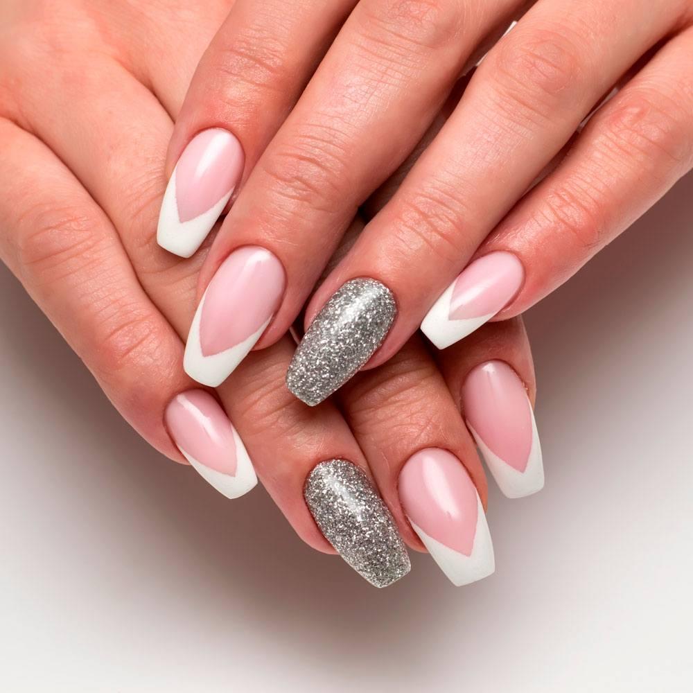 White And Silver Coffin Nails Design