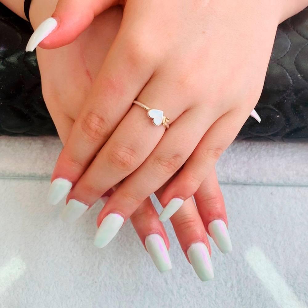 Fancy White Coffin Nails Designs
