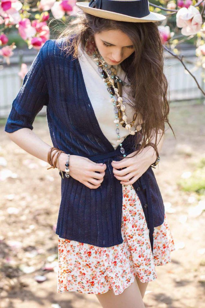 How to Wear a Cardigan with Skirt