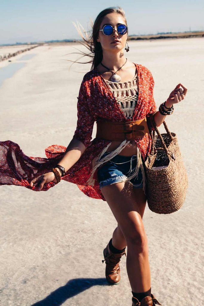 Boho Look with Belted Cardigan