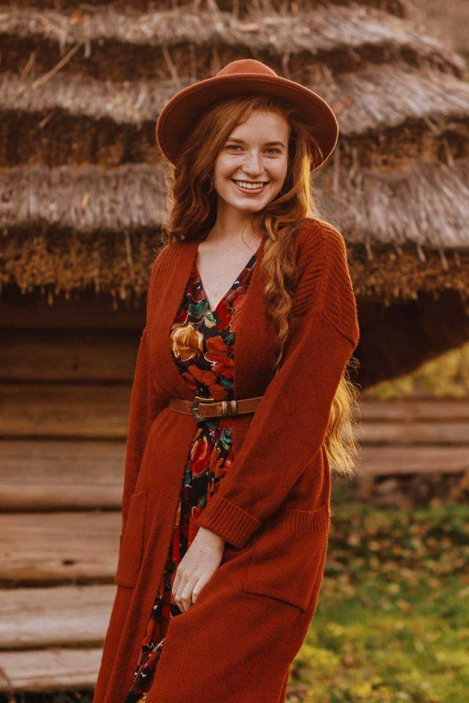 Long Red Cardigan with Floral Dress