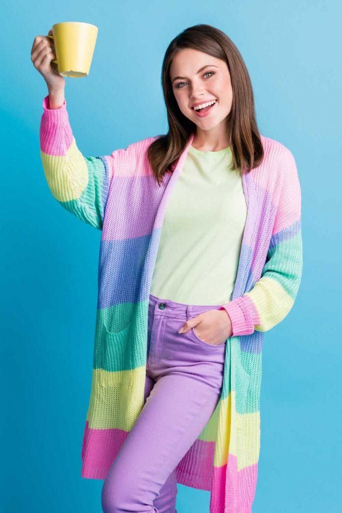 Outfits with Rainbow Cardigan