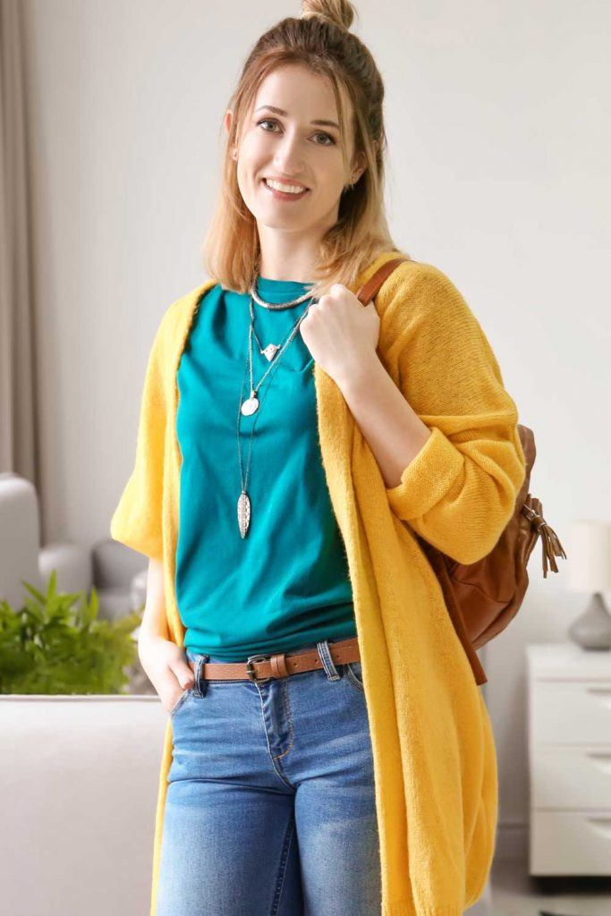 Bright Yellow Cardigan Outfits