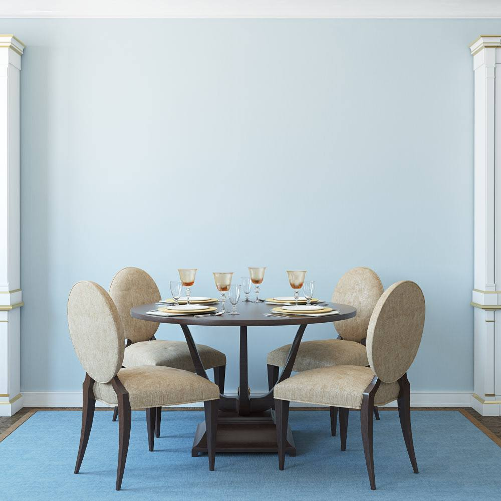 Blue Colored Dining Room