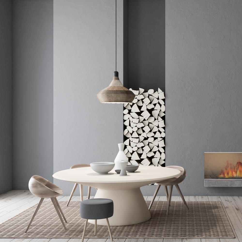 Minimalist Grey Dining Room