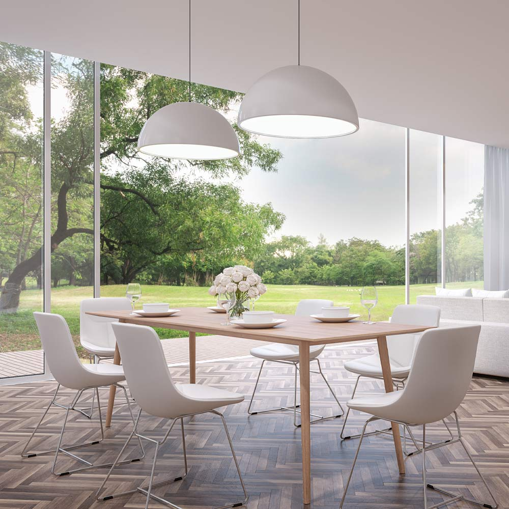 Modern White Colored Dining Room