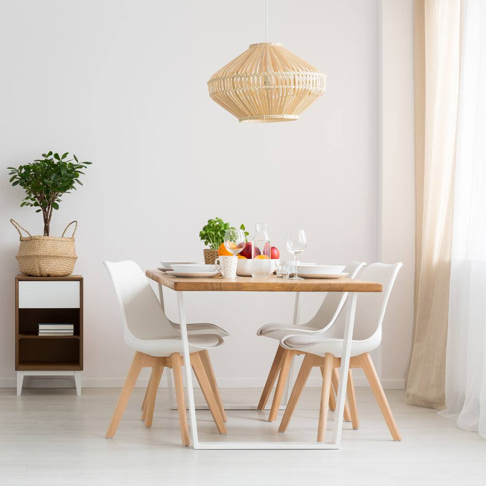 White Colored Dining Room With Rustic Accent