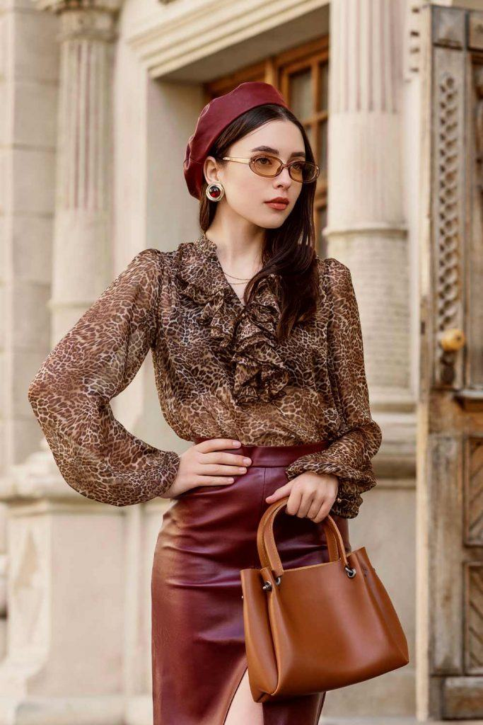 Leopard Blouse with Leather Skirt